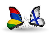 Butterflies with  Mauritius and Finland flags — Foto de Stock