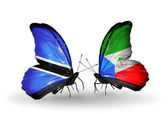 Butterflies with Botswana and Equatorial Guinea flags — Stock Photo