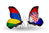 Butterflies with Mauritius and Croatia flags — Stock Photo