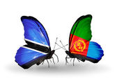 Butterflies with Botswana and Eritrea flags — Stock Photo