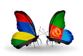 Butterflies with Mauritius and Eritrea flags — Zdjęcie stockowe