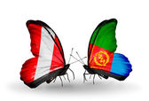 Butterflies with Peru and Eritrea flags — Stock Photo