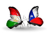 Butterflies with Tajikistan and Chile flags — Zdjęcie stockowe