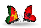 Butterflies with Cameroon and Albania flags — Stock Photo