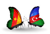 Butterflies with Cameroon and Azerbaijan flags — Stock Photo