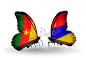 Butterflies with Cameroon and Armenia flags — Zdjęcie stockowe