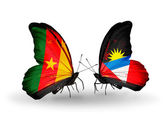 Butterflies with Cameroon and Antigua and Barbuda flags — Stock Photo