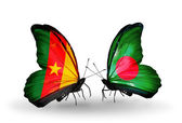 Butterflies with  Cameroon and Bangladesh flags — Stock Photo