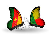 Butterflies with  Cameroon and Benin flags — Zdjęcie stockowe