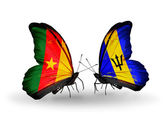Butterflies with  Cameroon and Barbados flags — Stock Photo