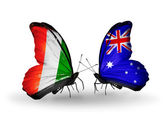 Butterflies with  Cote Divoire and Australia flags — Stock Photo