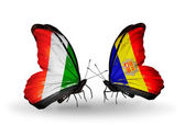 Butterflies with Cote Divoire and Andorra flags — Stock Photo