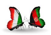 Butterflies with Cote Divoire and Afghanistan flags — Stock Photo
