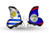 Butterflies with Uruguay and Belize flags — Stock Photo