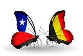Butterflies with Chile and Belgium flags — Stock Photo