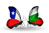 Butterflies with  Chile and Bulgaria flags — Stock Photo