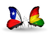 Butterflies with Chile and Bolivia flags — Stock Photo