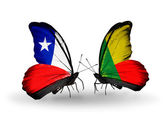 Butterflies with Chile and  Benin flags — Stock Photo