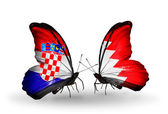 Butterflies with  Croatia and Bahrain flags — Stock Photo