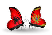 Butterflies with Albania and Montenegro flags — Stock Photo