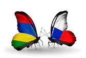Butterflies with Mauritius and Czech flags — Stock Photo