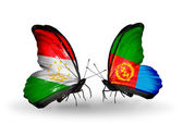 Butterflies with Tajikistan and Eritrea flags — Stock Photo
