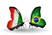 Butterflies with Cote Divoire and Brazil flags — Stock Photo