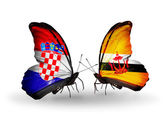 Butterflies with Croatia and Brunei flags — Stock Photo