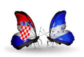 Butterflies with  Croatia and Honduras flags — Stock Photo