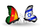 Butterflies with Cameroon and Israel flags — Stock Photo