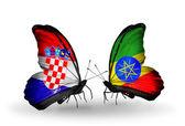 Fjärilar med kroatien och etiopien flaggor — Stockfoto