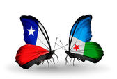 Butterflies with Chile and Djibouti flags — Stock Photo