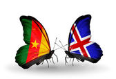 Butterflies with Cameroon and  Iceland flags — Stock Photo