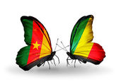 Butterflies with Cameroon and Kongo flags — Stock Photo