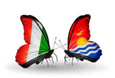 Butterflies with Cote Divoire and Kiribati flags — Stock Photo