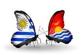 蝴蝶与乌拉圭和基里巴斯国旗 — ストック写真