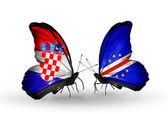クロアチアとカーボベルデ フラグと蝶 — ストック写真
