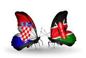 Schmetterlinge mit kroatien und kenia-flags — Stockfoto