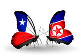 Butterflies with Chile and North Korea flags — Zdjęcie stockowe