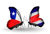 Butterflies with Chile and Costa Rica  flags — Stock Photo
