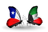 Butterflies with Chile and Kuwait flags — Stock Photo