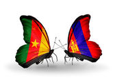 Butterflies with Cameroon and Mongolia flags — Stock Photo