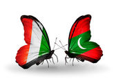 Butterflies with Cote Divoire and Maldives flags — Stock Photo