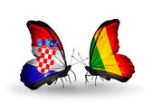 Butterflies with Croatia and Mali flags — Stock Photo