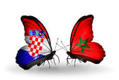 Butterflies with  Croatia and Morocco flags — Stock Photo