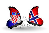 Butterflies with Croatia and Norway flags — Stock Photo