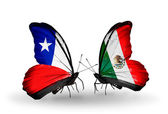 Butterflies with Chile and Mexico flags — Stock Photo