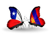 Butterflies with Chile and Mongolia flags — Stock Photo