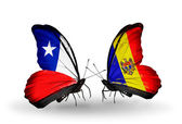 Butterflies with Chile and Moldova flags — Stock Photo