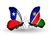 Butterflies with Chile and Namibia flags — Stock Photo